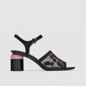 Polka Dot Mesh Open Toe Heel Slingback Sandals